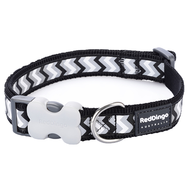 Red Dingo Reflective Ziggy Black Dog Collar