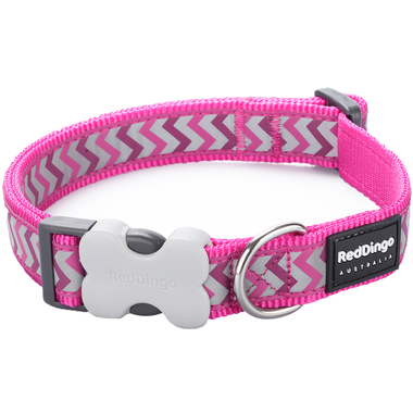 Red Dingo Reflective Ziggy Hot Pink Dog Collar