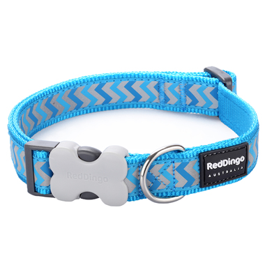 Red Dingo Reflective Ziggy Turquoise Dog Collar