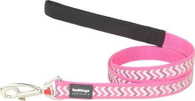 Red Dingo Reflective Ziggy Hot Pink Dog Lead