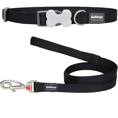 Red Dingo Plain Dog Collar & Lead Set