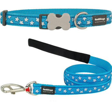 Red Dingo Star Dog Collar & Lead Set