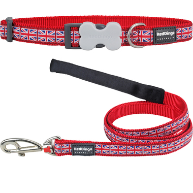 Red Dingo Union Jack Dog Collar & Lead Set