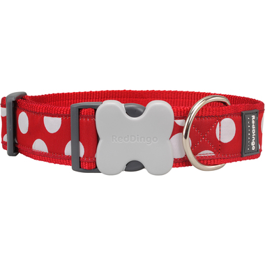 Red Dingo White Spots on Red GIANT Dog Collar