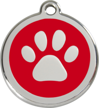 Red Dingo Pawprint Enamel Dog ID Tag