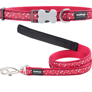 Red Dingo Flying Bones Dog Collar & Lead Set
