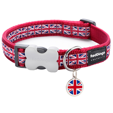 Red Dingo Union Jack Collar & Tag