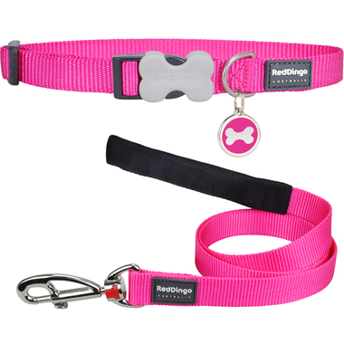 Red Dingo Plain Dog Collar, Lead & Tag Set