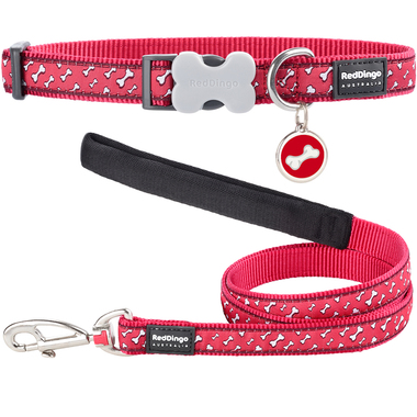 Red Dingo Flying Bones Dog Collar, Lead & Tag Set