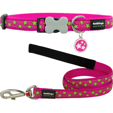 Red Dingo Star Dog Collar, Lead & Tag Set
