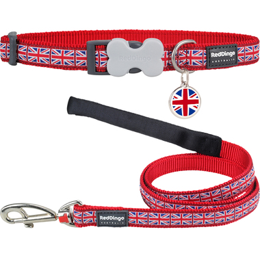 Red Dingo Union Jack Dog Collar, Lead & Tag Set