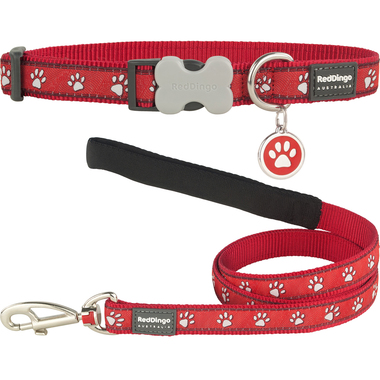 Red Dingo Desert Paw Dog Collar, Lead & Tag Set