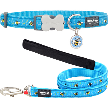 Red Dingo Bumble Bee Dog Collar, Lead & Tag Set