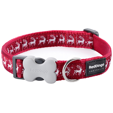 Red Dingo Winter Reindeer Dog Collar