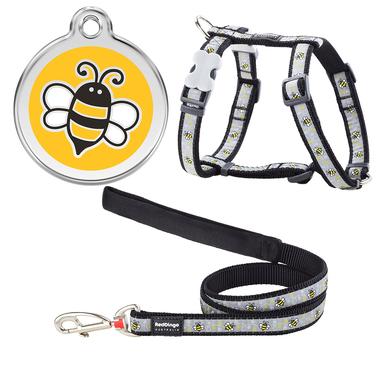 Red Dingo Bumblebee Dog Harness, Lead & Tag Set