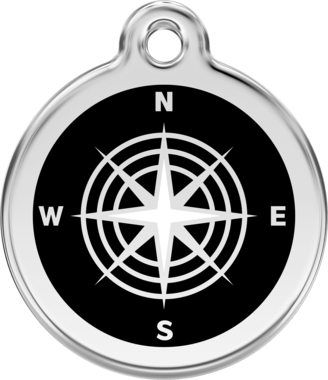 Red Dingo Compass Enamel Pet ID Tag