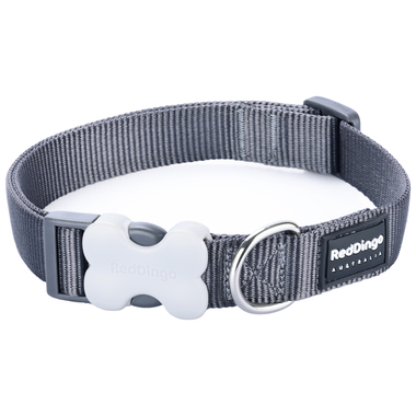 Red Dingo Plain Grey Dog Collar
