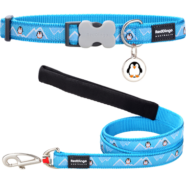 Red Dingo Penguin Dog Collar, Lead & Tag Set