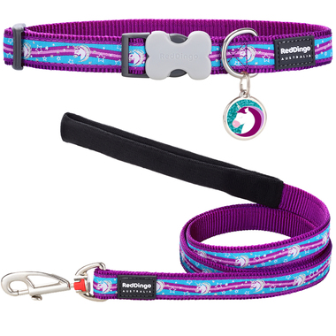 Red Dingo Unicorn Dog Collar, Lead & Tag Set