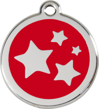 Red Dingo Stars Enamel Pet ID Tag