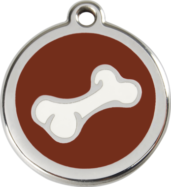 Red Dingo Comic Bone Enamel Pet ID Tag