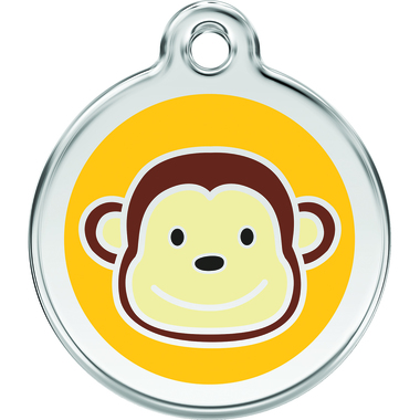 Red Dingo Monkey Enamel Pet ID Tag