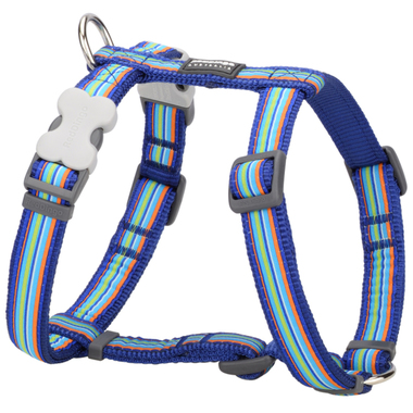Red Dingo Dark Blue Stripes Dog Harness