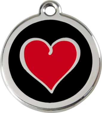 Red Dingo Two Tone Heart Enamel Pet ID Tag