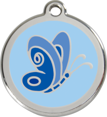 Red Dingo Butterfly Enamel Pet ID Tag