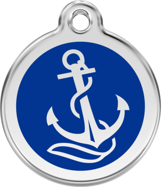 Red Dingo Anchor Enamel Pet ID Tag