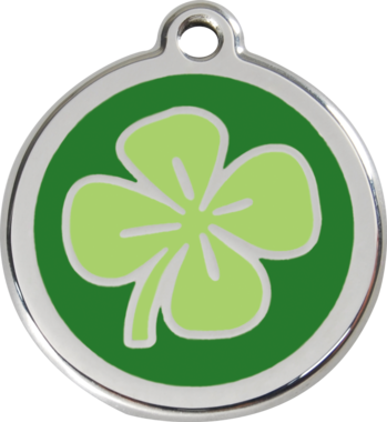 Red Dingo Clover Enamel Pet ID Tag