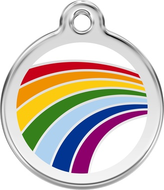 Red Dingo Rainbow Enamel Pet ID Tag