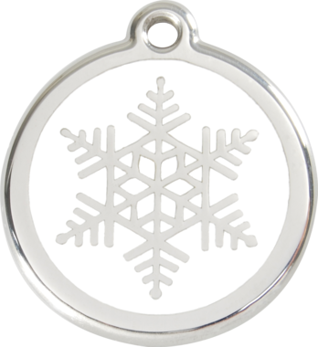 Red Dingo Snowflake Enamel Pet ID Tag