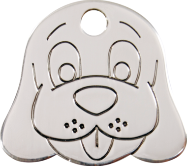Red Dingo Dog Face Stainless Steel Pet ID Tag