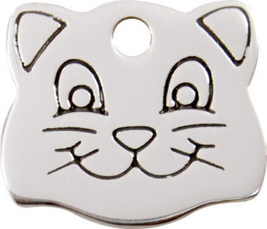 Red Dingo Cat Face Stainless Steel Pet ID Tag