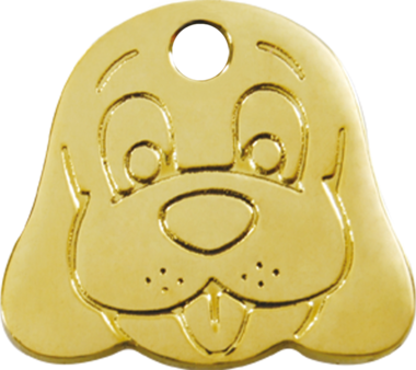 Red Dingo Brass Dog Face Pet ID Tag
