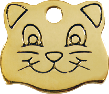 Red Dingo Brass Cat Face Pet ID Tag