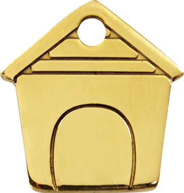 Red Dingo Brass Dog House Pet ID Tag