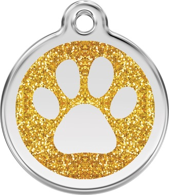 Red Dingo Glitter Pawprints Pet ID Tag