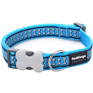 Red Dingo Reflective Turquoise Dog Collar