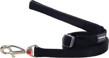 Red Dingo Plain Black Adjustable 1.8m Dog Lead